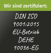 Bild von Zertifikat: DIN ISO 9001-2015 EU-Betrieb DEHE 10036-EG